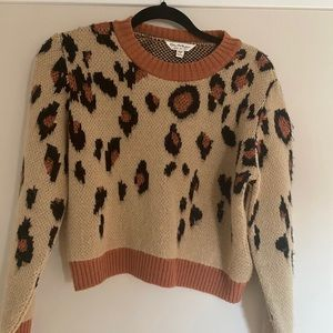 EUC waist length leopard print sweater